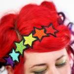 Rainbow Stars Headband, Red..