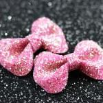 Dark Red Bow Clips, Glitter..
