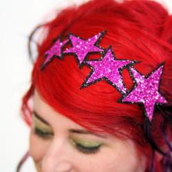 Glitter Stars Headband, Hot pink and black